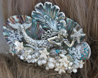 Mermaid Hair Comb / Mermaid Hair Jewelry /  Beach Hair Comb / Bridal Hair Comb