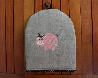 Linen Pig Motif Cafetiere Cosy - cafetiere cover, handmade cosy, linen cosy