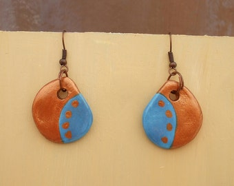 Copper, blue earrings, drop-shaped air dry clay earrings