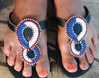African Handmade Leather Maasai Sandals / Masai Design / Made in Kenya