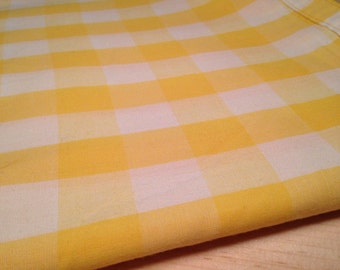 Yellow Gingham Fabric - Likely Cotton