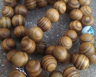 108 Meditation Mala, 10mm Wood Beads, 8mm Tree Agate Beads