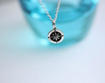Silver Compass Necklace - Sterling Silver Compass Necklace -Travel Necklace - Nautical Necklace - Compass jewelry - Delicate necklace