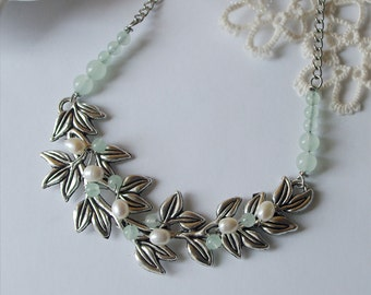 Antique silver leafy branch Bib necklace Fresh water pearls statement necklace