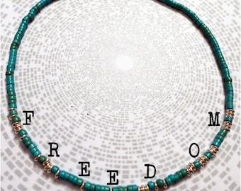 Freedom Morse Code Necklace / Turquoise / Personalised / Customised / Bespoke / Secret / Hidden Message / Semiprecious / Gemstone/ Magnesite