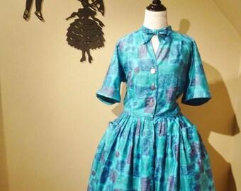 Vintage 1950's Shirtwaist Dress / 50s Blue Cotton Day Dress L/XL