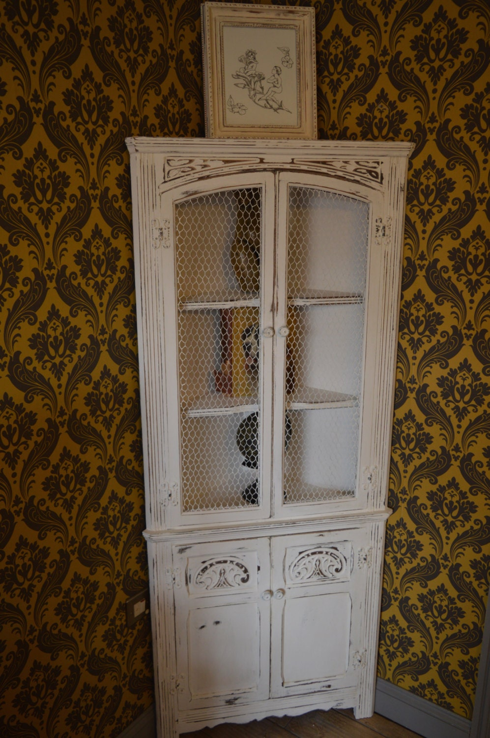 Sale Vintage Up Cycled Shabby Chic Corner Display Cabinet