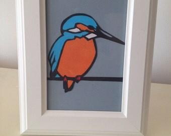 Kingfisher paper cut