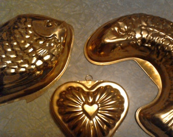 Vintage Copper Jello Molds - Set of Three