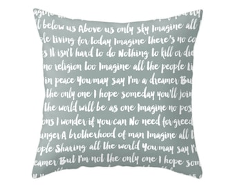 5 Colors Options Imagine Song Pillows, Throw Pillow, Typographic Design Cushion, Home Decor, The Beatles, Imagine John Lennon, Music Lyrics