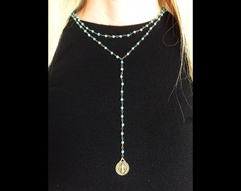 The Madi- St. Christopher drop necklace