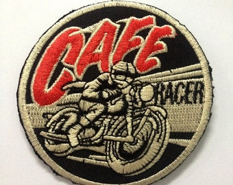 Cafe Racer Biker Patch, motorcycle  patch, iron on patch jeans jackets clothing appliqués | W3 x H3 ""