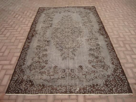 grey overdyed rug vintage turkish teppich home by familyrugshop. Black Bedroom Furniture Sets. Home Design Ideas