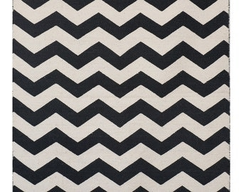 Wave Black and White Area Rug