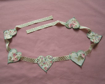 Heart Bunting, flower garland, hand stitched, cream, green, fabric, bunting