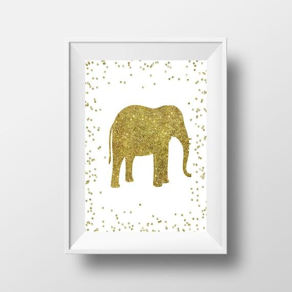 Gold Elephant Wall Decor : Items similar to elephant print gold wall art
