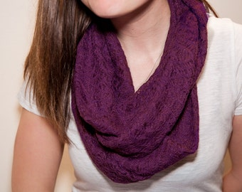 Infinity scarf, Circular Scarf, dusty purple Lacey scarf, Mid warmth, Casual, Gift Idea, Birthday for Women