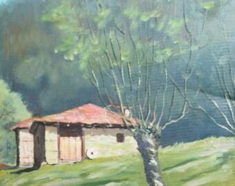 Vintage ipressionist landscape oil painting signed