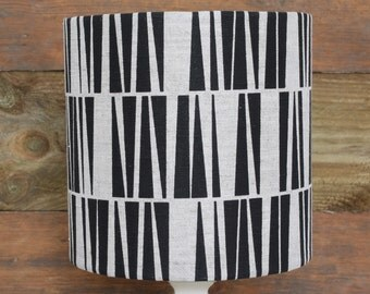 Geometric Black/White Linen Lampshade