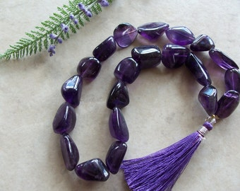 "Grape Amethyst Gemstone Tumbled Polished Chunky Nugget Beads 13"" Strand 13mm-20mm"