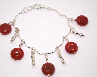 Carnelian Charm Bracelet, Carnelian Silver tone Charm Bracelet,Carnelian Gemstone Bracelet,Carnelian Jewelry,Carnelian Silver Charm Bracelet