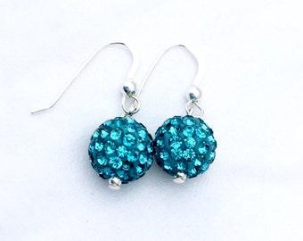 Aqua Pave' crystal earrings, crystal ball earrings, blue green crystal earrings, sterling silver crystal earrings, rhinestone crystal balls