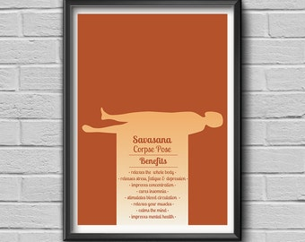 """Yoga Pose """"Savasana - Corpse Pose"""", Yoga Print, Yoga Art, Yoga Studio Art, Wall Art Decor, Yoga Gift"""