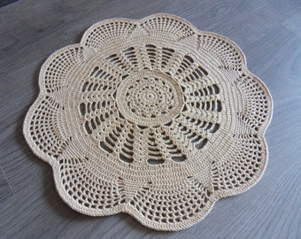 Crochet Doily Rug, Beige Cotton Rug, Rounded Doily Rug, Table placemat