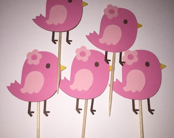 12 Bird Cupcake Toppers, Baby Shower or Birthday Party Decorations