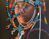 "Ethnic necklace semi-long, Tibetan style turquoise ""heishi"" natural coral and orange, ancient ethnic silver beads."