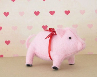 Prize Pig Hand-sewn Stuffed Animal - Felt softie - plush pastel pink farm animal barnyard piglet with red polka dot bow - nursery kids decor
