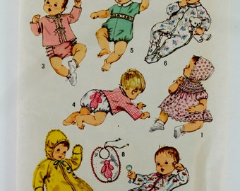 Simplicity 8761 Newborn Babies' Layette Vintage Sewing Pattern from the 70's