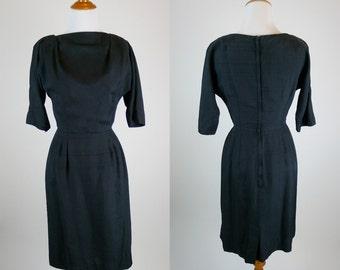 vintage 1950s dress • The Raven Dress • 50s vintage silk dress