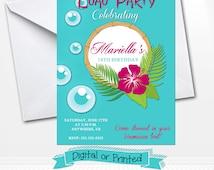 Aloha Hawaii Birthday Invitations Printed with Envelopes or Digital Copy 24 Hr Turnaround! Aloha Invitations