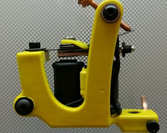Handmade Tattoo Machine-Hand Wound Coils-Electric Yellow