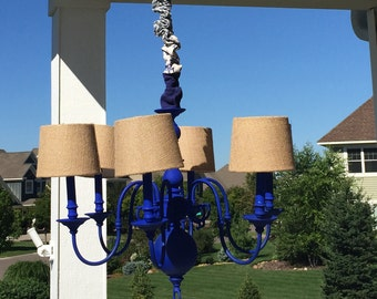 Cobalt blue chandelier - wax rubbed - with new burlap lampshades