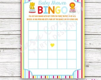 Circus Baby Shower Bingo Game, Striped Printable Card, Carnival Baby Shower Bingo, Printable Games for Baby Shower, Baby Boy Shower