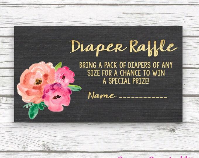 Chalkboard Gold Foil Floral Baby Shower Diaper Raffle Ticket, Pink Peony Diaper Raffle Ticket, Baby Girl Shower, Printable Invitation Insert