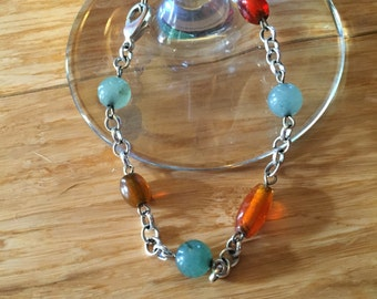 Green and Orange Silver Bracelet