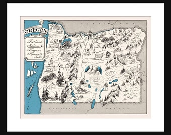 Oregon Map - Map of Oregon - State Map - Vintage Map - Poster - Print - Pictorial - Cartoon Map