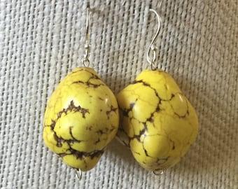 Chunky Yellow Howlite Earrings. Yellow Howlite. Bridesmaid Jewelry. Howlite Jewelry. Yellow Howlite Earrings. Sterling Silver Jewelry.