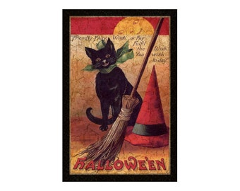 Halloween plaque-cat plaque
