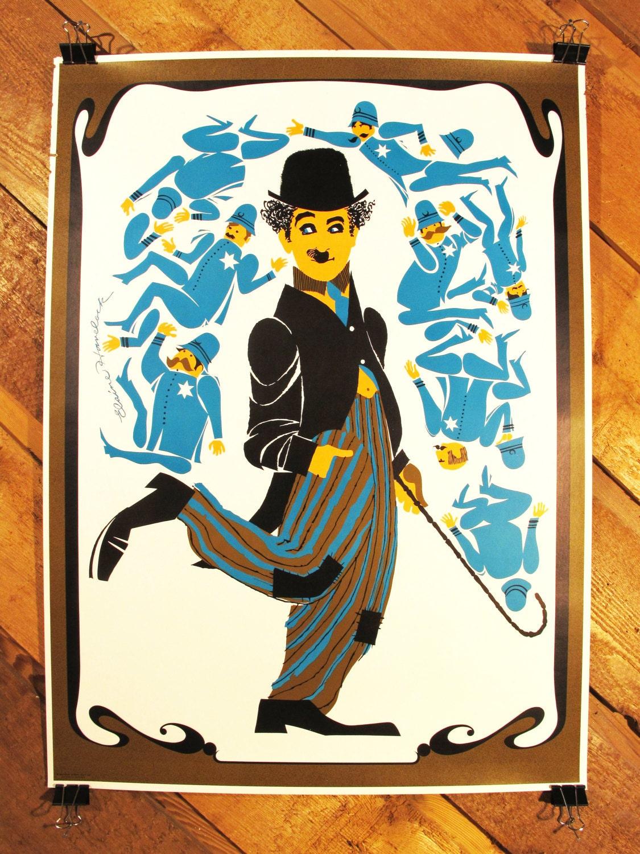 Original Vintage Charlie Chaplin Pop Art Movie Poster by