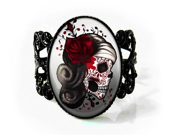 Jet Black Day of the Dead Sugar Skull Girl Adjustable Filigree Ring 73-JBFR
