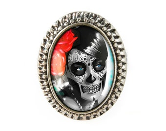 Antique Silver Day of the Dead Sugar Skull Girl Adjustable Ring 62-SOR