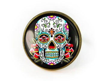 Antique Bronze Traditional Day of the Dead Sugar Skull Adjustable Ring 55-BRR