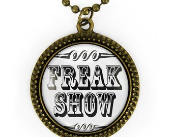 Antique Bronze Retro Freak Show Side Show Glass Oddity Pendant Necklace 163-BRN