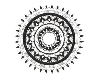 Cosmic: Hand drawn black and white mandala