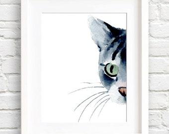 Grey Tabby Cat - Art Print - Wall Decor - Watercolor Painting