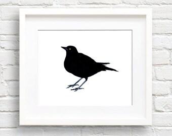 Black Bird Art Print - Wall Decor - Watercolor Painting